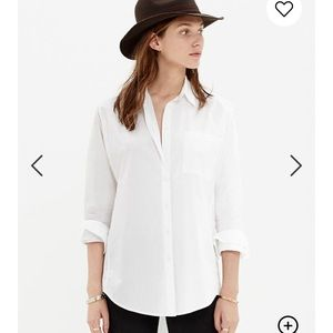 Madewell Oversized White Cotton Button Down Short